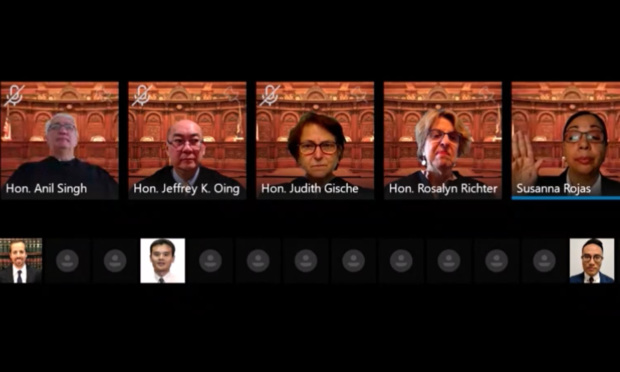 Judges of the New York Appellate Division, First Department gathered on Zoom