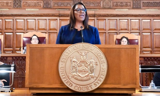 Attorney General Letitia James speaks during a Law Day ceremony at the Court of Appeals in Albany on May 1, 2019. (Photo by David Handschuh/NYLJ)