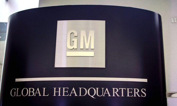 General Motors global headquarters sign at the Renaissance Center in downtown Detroit.