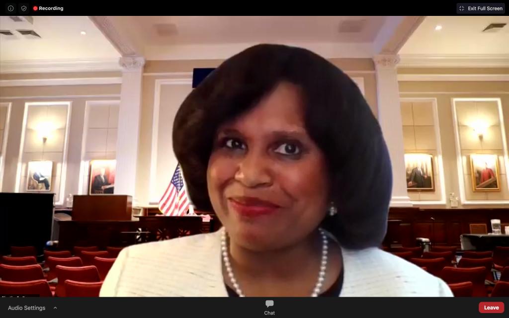 screenshot of Sheila Boston during virtual meeting