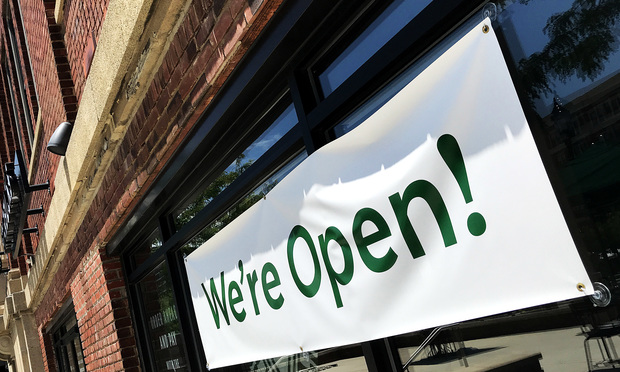 A Starbucks coffee shop announces its partial reopening during the coronavirus pandemic in Baltimore, MD, on June 14, 2020. (Photo: Diego M. Radzinschi/ALM)