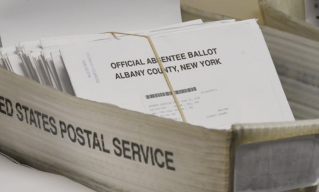Box of absentee ballots waiting to be counted at the Albany County Board of Elections last month. Photo: Hans Pennink/AP