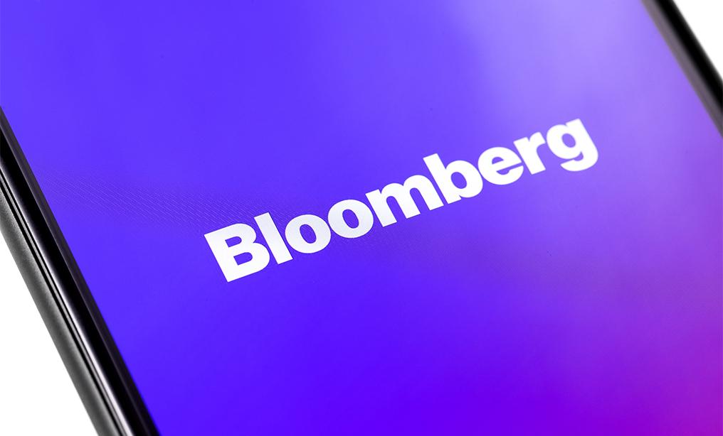 Phone screen showing Bloomberg logo