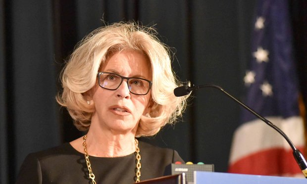 Janet DiFiore, chief judge of the New York State Court of Appeals, addresses the House of Delegates at the New York State Bar Association Annual Meeting on Friday, January 26, 2018 ..(Photo by David Handschuh/NYLJ)