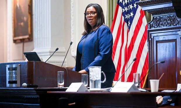 New York State Attorney General Letitia A. James delivered opening remarks at a Brownfield/Superfund 2019 Update program co-sponsored by the Environmental & Energy Law Section and the Environmental Law Committee of the New York City Bar Association...David J. Freeman, right, a Director in the Real Property and Environmental Law Department at Gibbons joined the Attorney General on the podium...The program took place on Thursday, December 12th, 2019 at the New York City Bar Association. ..(Photo by David Handschuh/NYLJ).