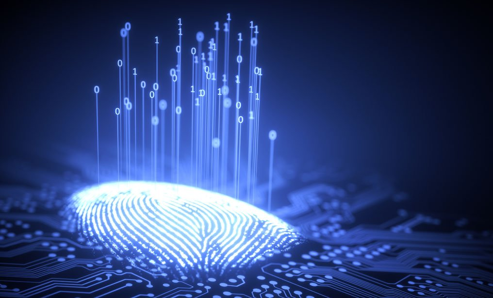 3D illustration. Fingerprint integrated in a printed circuit, releasing binary codes. (Shutterstock)
