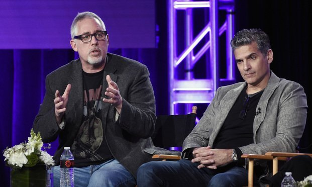 "Brian Koppelman, left, and David Levien, the executive producer/creators of the Showtime series ""Billions,"" take part in a panel discussion on the show at the Television Critics Association Winter Press Tour on Saturday, Jan. 6, 2018, in Pasadena, Calif. Photo: Chris Pizzello/AP)"