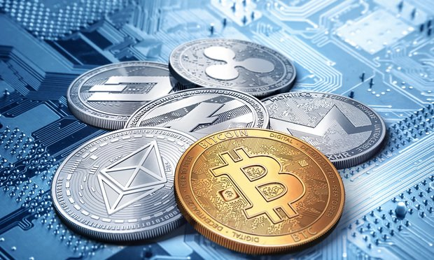 stack of cryptocurrencies: bitcoin, ethereum, litecoin, monero, dash, and ripple coin together, 3D rendering. New virtual money. Photo: by Wit Olszewski/Shutterstock