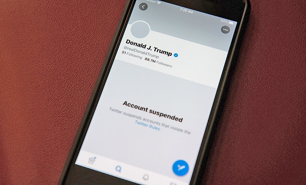 The suspended Twitter account of former president Donald Trump. Photo: Graeme Sloan/Bloomberg
