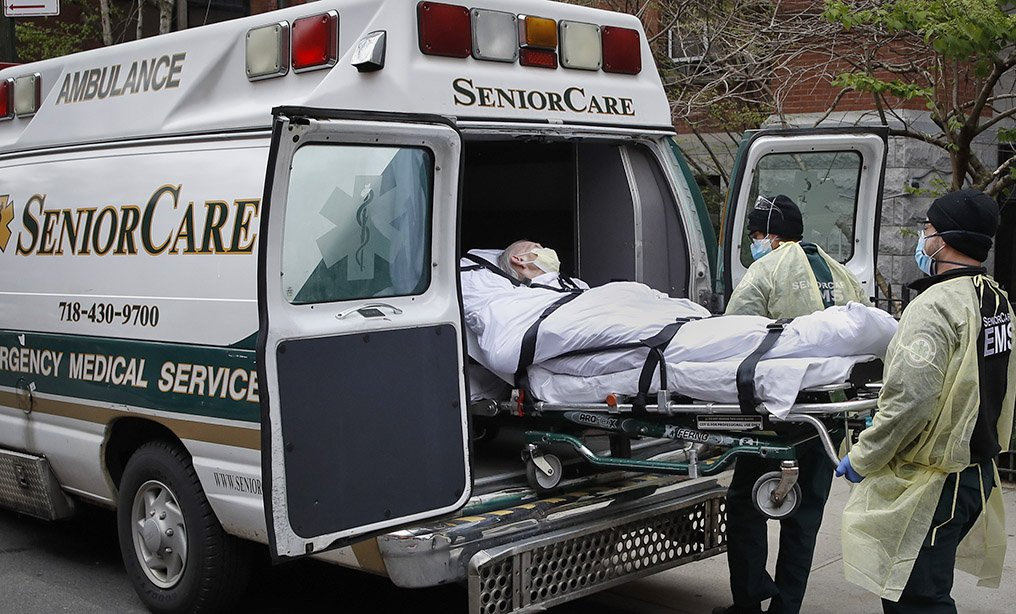 An ambulance outside Cobble Hill Health Center in Brooklyn last year. Photo: John Minchillo/AP
