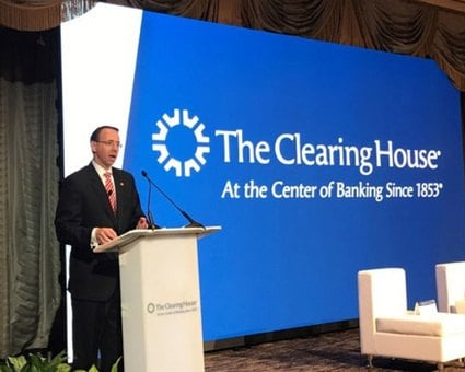 Deputy Attorney General Rod Rosenstein speaking at the Clearing House Association's annual conference.