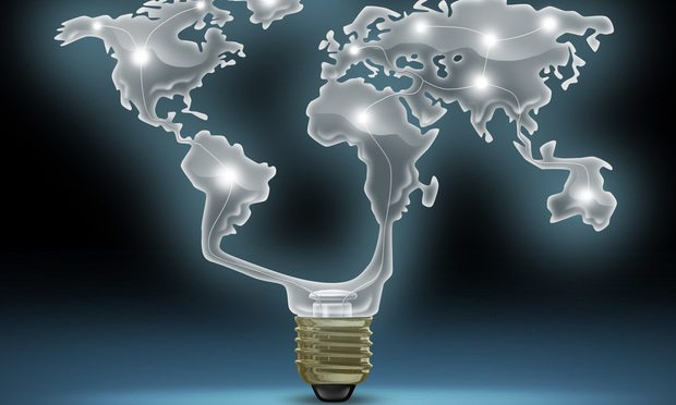 World Map Innovation light bulb