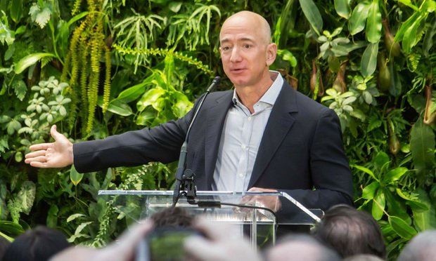 Jeff Bezos at Amazon Spheres grand opening in Seattle. Photo by Seattle City Council via Wikimedia Commons.