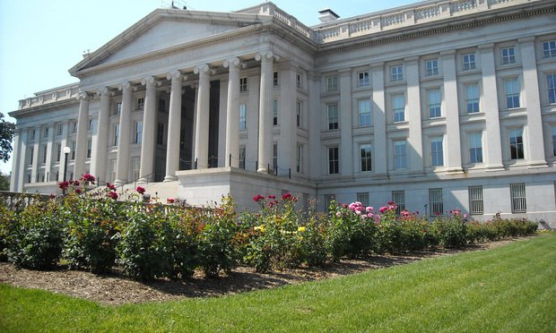 Rear view of the Treasury Department building in Washington, D.C. Photo courtesy of Wikimedia.