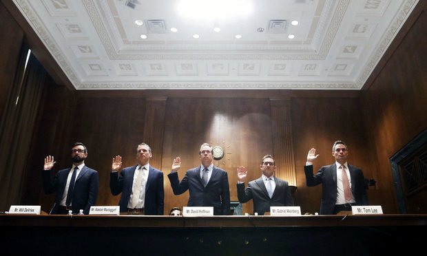 Will DeVries, senior privacy counsel with Google, Inc. (from left); Alastair MacTaggart, chairman of Californians for Consumer Privacy; David Hoffman, director of security policy and global privacy officer with Intel; Gabriel Weinberg, CEO and founder of DuckDuckGop and Tom Lee, policy lead with Mapbox, testify before the Senate Judiciary Committee during a GDPR & CCPA: Opt-ins, Consumer Control, and the Impact on Competition and Innovation hearing Tuesday. (Photo: Diego M. Radzinschi/ALM)