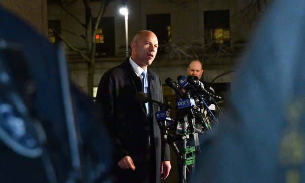 Michael Avenatti, attorney and founding partner of Eagan Avenatti LP, speaks to members of the media outside the federal court in New York, U.S., on Monday, March 25, 2019. Avenatti was charged by federal prosecutors on both coasts, accused in New York of trying to extort millions of dollars from Nike Inc. and in Los Angeles of embezzling money from a client and defrauding a bank. Photographer: Louis Lanzano/Bloomberg