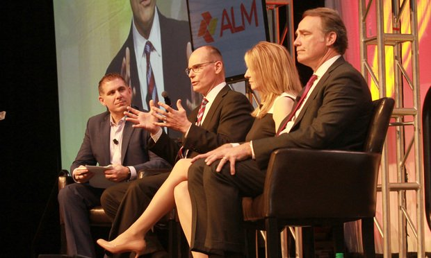 L-R: Richard Caruso, vice president and general manager, Legal Media for ALM, moderates a panel discussion at the LMA's annual conference in Atlanta on April 10, 2019, with Mark Smolik, Alexia Maas and Will Barnette.