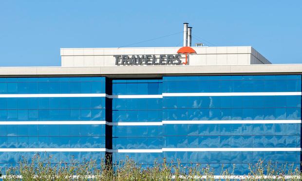 Travelers logo on building