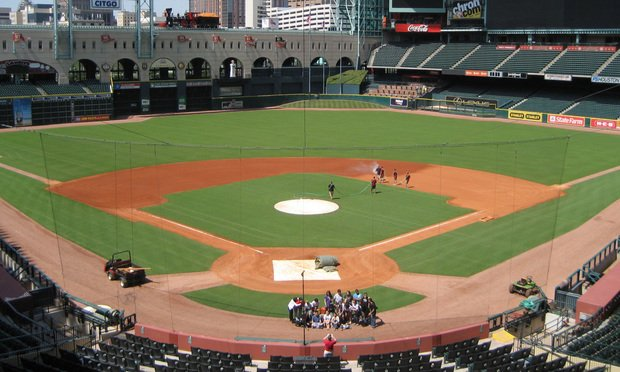 Minute Maid Park in Houston, Texas, the home field of the Houston Astros. Photo by Wikipedia