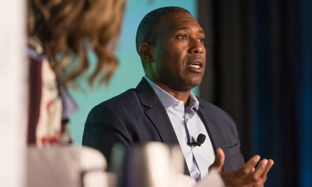 Tony West, Uber senior vice president and chief legal officer, delivers a keynote address at Bloomberg Law's In-House Forum West/photo by Jason Doiy / The Recorder