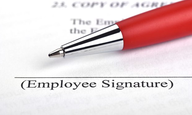 Employment contract signing.