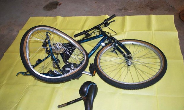 The bicycle in which Mike Galikas was riding after he was sideswiped by a truck. Galikas' leg was amputated and his case was recently settled for $5 million.
