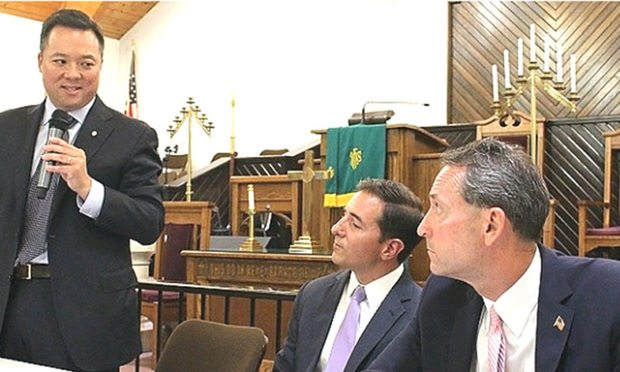 The Democratic candidates for Connecticut attorney general debated Tuesday in New Haven. From left to right are: William Tong; Chris Mattei; and Paul Doyle.