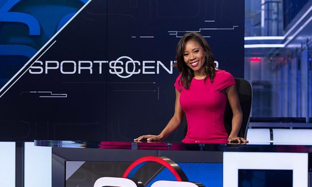 Adrienne Lawrence on the set of ESPN, where she formerly worked.