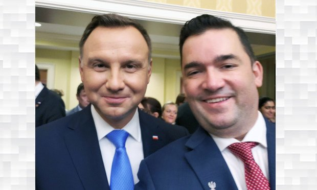 New Britain Attorney Adrian Baron (right) met last week in Washington, D.C. with Andrzej Duda (left), the president of Poland.