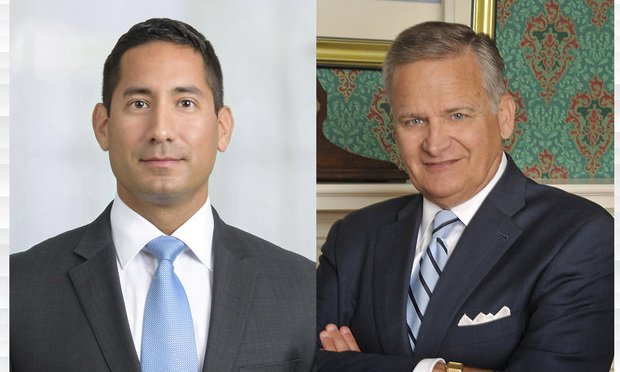 Rosendo Garza Jr., with Day Pitney in Hartford, left, and Robert Reardon Jr., with the Reardon Law Firm in New London, right.