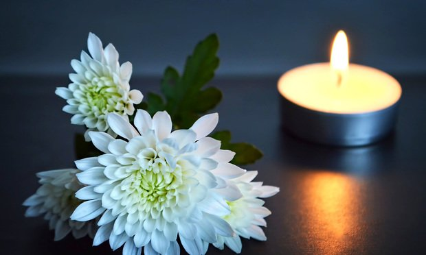 Flower and candle memorial