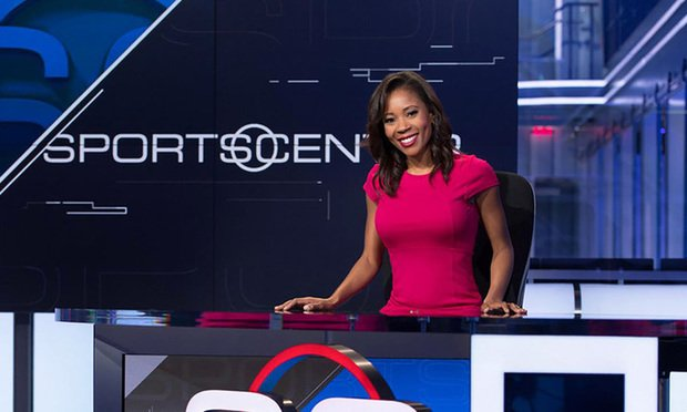 Former ESPN talent Adrienne Lawrence on set.