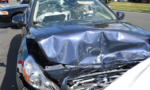 This is Valerie Riesbeck's blue Volvo T6 after it was struck by another motorist in September 2014 in Glastonbury. Riesbeck suffered serious back injuries.