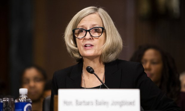 Barbara Bailey Jongbloed testifies before the Senate Judiciary Committee during her confirmation hearing to be U.S. District Judge for the District of Connecticut Wednesday.