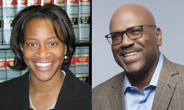 Alexis Smith, executive director of New Haven Legal Assistance Association, and Preston Tisdale of Koskoff Koskoff & Bieder.