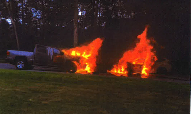 Eric and Melanie Thomspon suffered injuries following this fiery crash in Ledyard in 2018. The two were in a pickup truck (left vehicle) which was struck head on by a vehicle Samuel McGrath was driving. McGrath was drunk at the time, police said. The case recently settled for $1.2M.