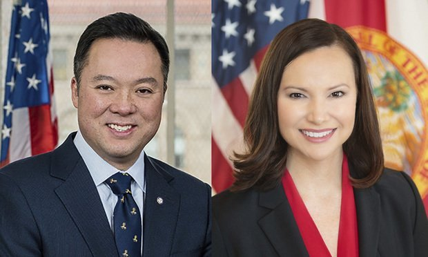 Connecticut Attorney General William Tong, left, and Florida Attorney General Ashley Moody, right.