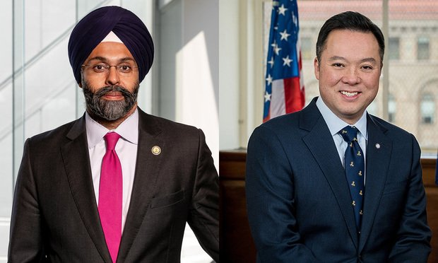 Left to right are New Jersey Attorney General Gurbir Grewal and Connecticut Attorney General William Tong,