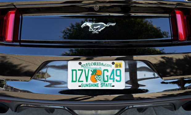 Florida license plate on a Ford Mustang car/Shutterstock