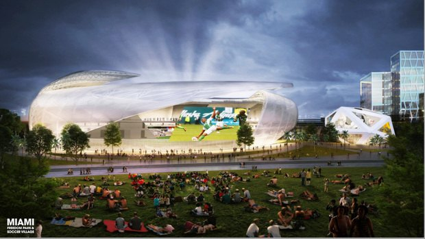 Amphitheater: The soccer stadium would have an amphitheater for projecting games. This setup is reminiscent of the New World Symphony in Miami Beach, where people can watch concerts while stretched out on the lawn.