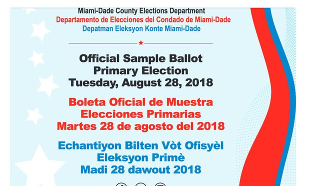 Official sample ballot, primary election, Miami-Dade County Elections Department/courtesy photo