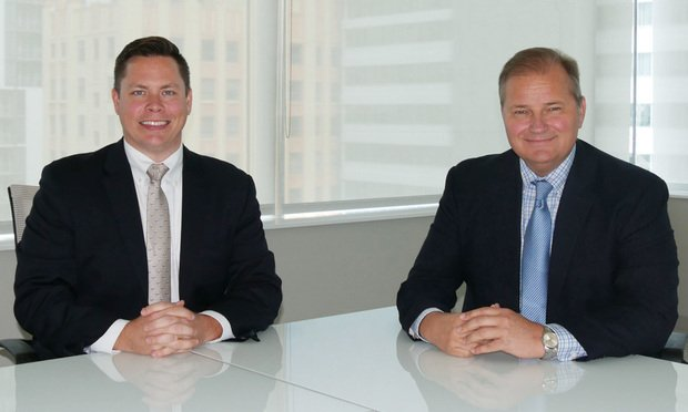 Transwestern Vice President Christopher Dubberly, left, and managing director Glenn Gregory, right, in Miami. Courtesy photo.