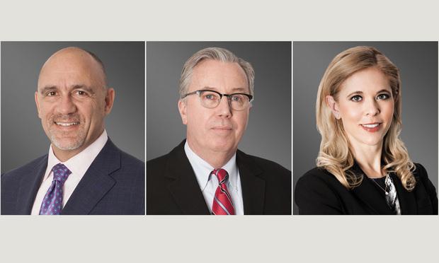Greenberg Traurig shareholders Richard Giusto, Michael Lynott and Marina Ross in Miami. Courtesy photos