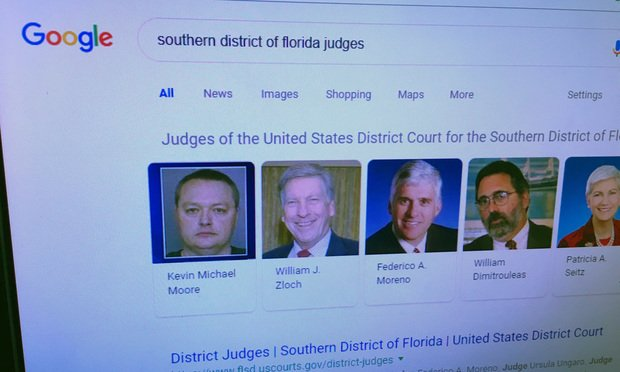 Search results for Southern District of Florida judges with Canadian defendant Rene Roberge's mugshot as Judge K. Michael Moore. Photo: Catherine Wilson/ALM.