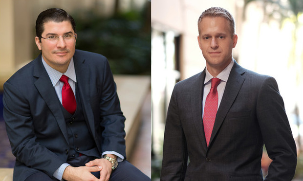 Javier Lopez (left), partner at Kozyak, Tropin & Thorckmorton, and Evan Stroman (right), an attorney at Kozyak Tropin & Throckmorton in Coral Gables. Courtesy photos.