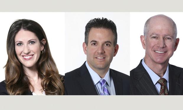 (l-r) Bilzin Sumberg partners Alexandra Lehson, Jay Sakalo and Jon Chassen in Miami.