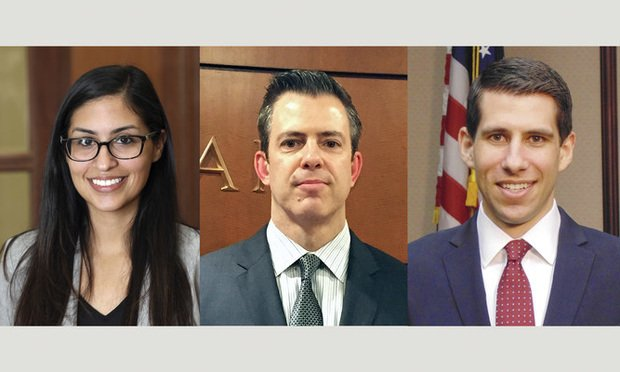 (l-r) Cristina Sabbagh, Bryan Hofeld, and Zane Berg, with the Schlesinger Law Firm. Courtesy photos.
