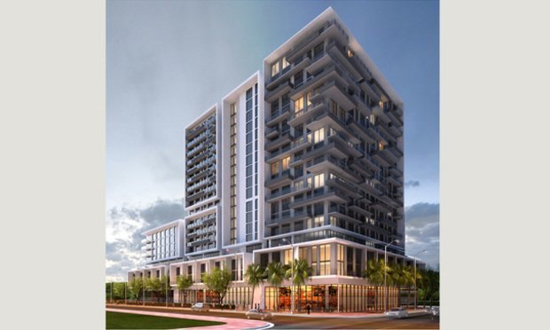 A rendering of the 18-story, 260-unit Soleste Grand Central to rise in Miami's Overtown at 218 NW Eighth St.