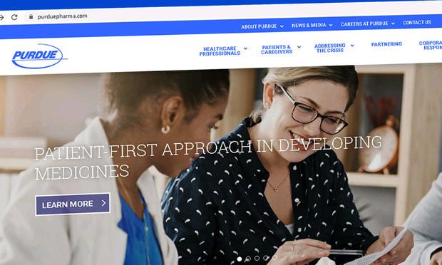 Screenshot of Purdue Pharma's website. Courtesy photo.