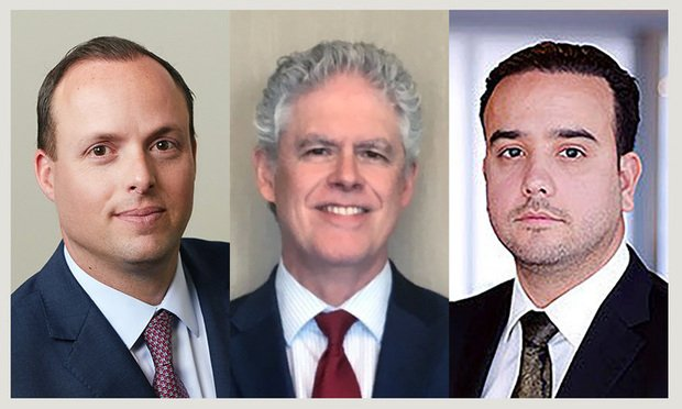 Centennial Bank president for Miami J.C. de Ona and senior commercial lender Joe Garcia as well as Prestige Cos. chief operating office Alex Ruiz.